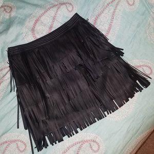 H&M Black Fringe 3-Layer Vegan Leather Skirt
